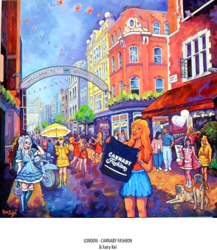 # 391 Carnaby Fashion & Fairy Kei Autor: RomSabi, acrílico y esmaltes sobre tabla de madera, 80x80cm.