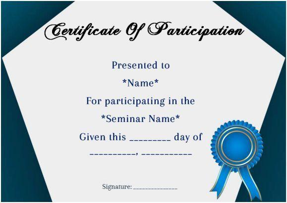 Certificate Of Participation In Seminar Template Certificate Of Participation Template Certificate Templates Certificate Design Template