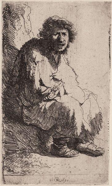 Rembrandt. Gueux assis sur une motte de terre   (autoportrait)   1630  Eau-forte. 116 x 70 mm