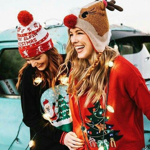 Christmas buddies | festive beanies | ugly sweaters | friends | string lights