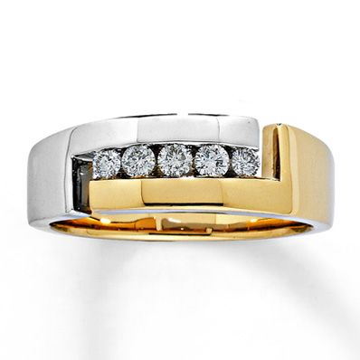 Men's Diamond Band 1/3 ct tw Round-Cut 14K Two-Tone Gold
