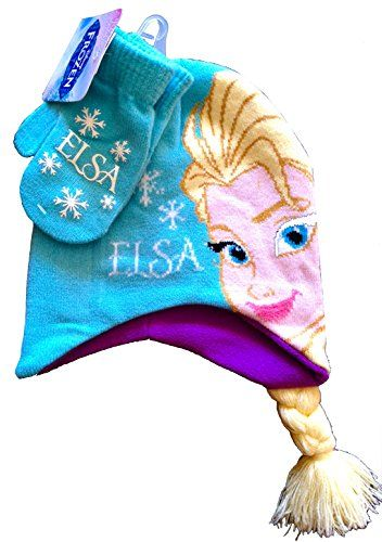 Disney Frozen Elsa and Anna Beanie Hat with Matching Mittens Complete Gift (ELSA HAT) @ niftywarehouse.com