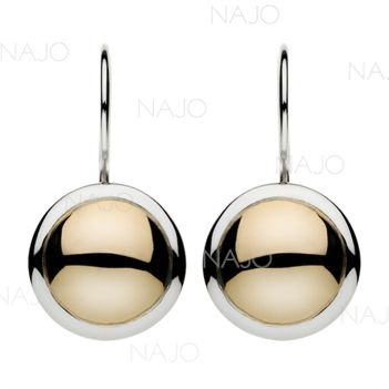 Polished brass  silver disc earrings