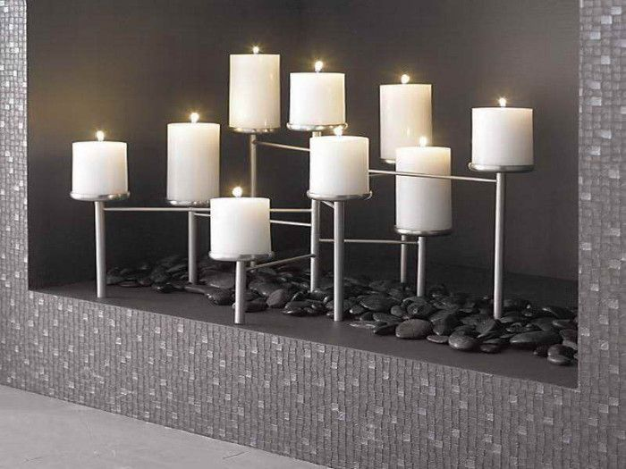 modern fireplace candle holders