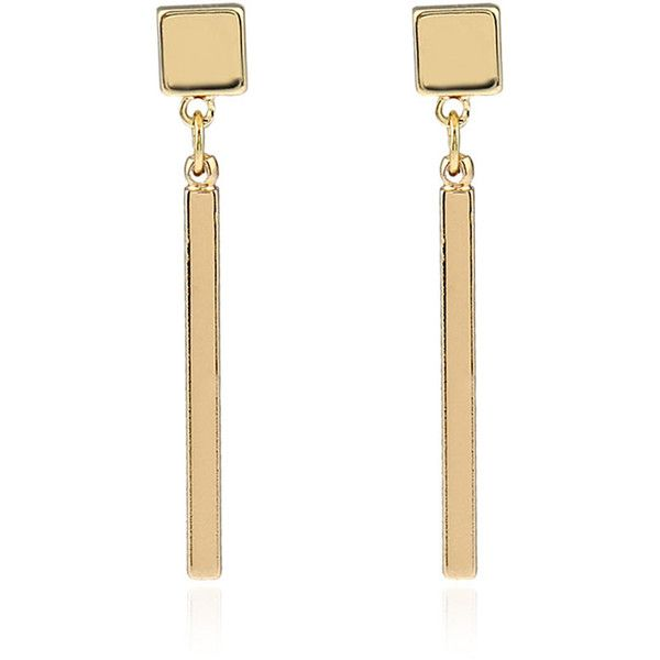 Gold Geometry Metal Bar Stylish Drop Earrings (103.080 IDR) ❤ liked on Polyvore featuring jewelry, earrings, yellow gold charms, lock charm, earring charms, drop earrings and metal earrings