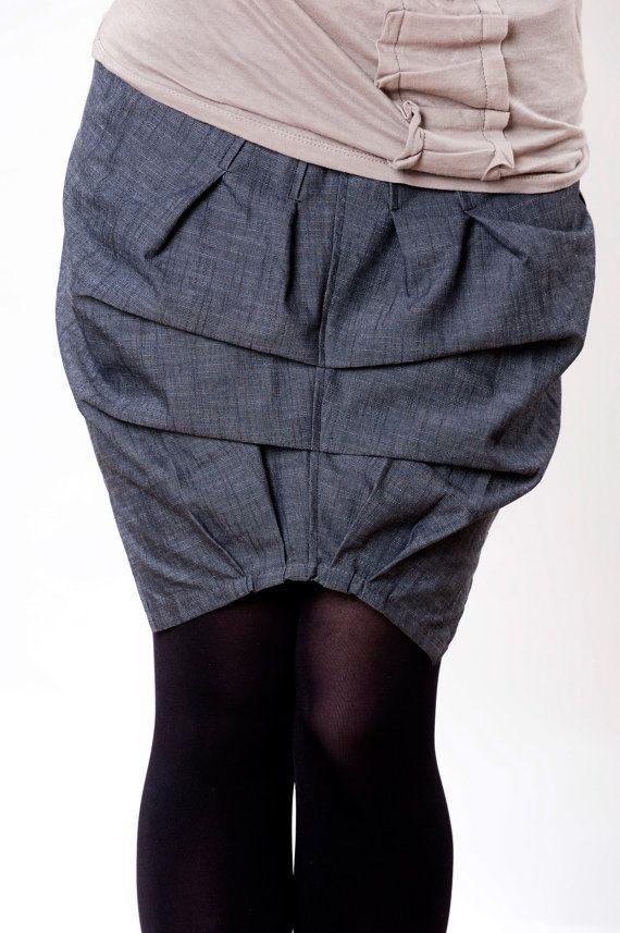 Skirt origami  original denim baloon mini by IraTadson on Etsy