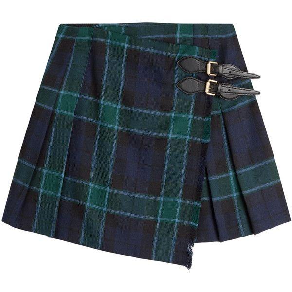 Burberry Brit Wool Plaid Skirt ($385) ❤ liked on Polyvore featuring skirts, green, wool plaid skirt, plaid skirt, wool a line skirt, tartan skirts and woolen skirt