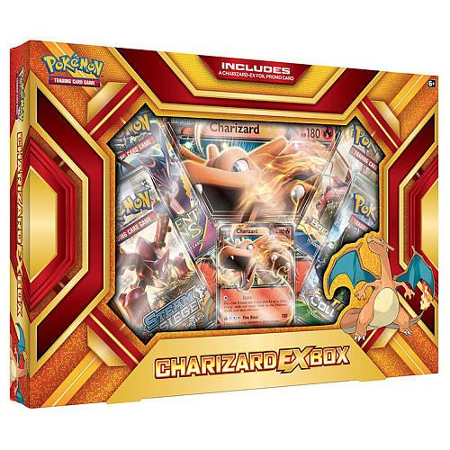 Each Pokemon Charizard Fire Blast EX Box includes a Charizard EX foil promo card, 4 x 10-card Pokemon TCG booster packs, a special oversize foil promo card featuring the Charizard EX to add to your collection, and a BONUS online code card for unlocking the characters EX promo card in the Pokemon Trading Card Game Online!<br><br>The Pokemon Charizard EX Fire Blast Box Features:<br><ul><li>A foil promo card featuring Charizard EX</li><br><li>4 x 10-card Pokemon TCG booster packs</li><br><li>An…