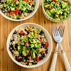 Gluten-free Vegan Mexican Bowl-omit oil and salt and it instantly becomes nutritarian!  Slow Cooker Vegan Brown Rice Mexican Bowl with Black Beans, Bell Peppers, and Poblano-Avocado Salsa. Great for Meatless Monday!