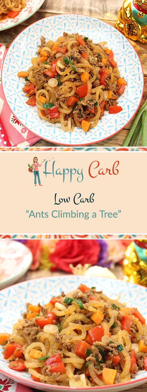Was die Ameisen wohl auf dem Baum wollen? Ein chinesischer Klassiker Low Carb interpretiert.  Low Carb Rezepte von Happy Carb. https://happycarb.de/rezepte/fleisch/low-carb-ants-climbing-a-tree/