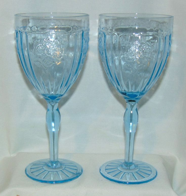 """2 Anchor Hocking MAYFAIR/OPEN ROSE BLUE *7 1/4"""" 9 oz THIN WATER GOBLETS*"""