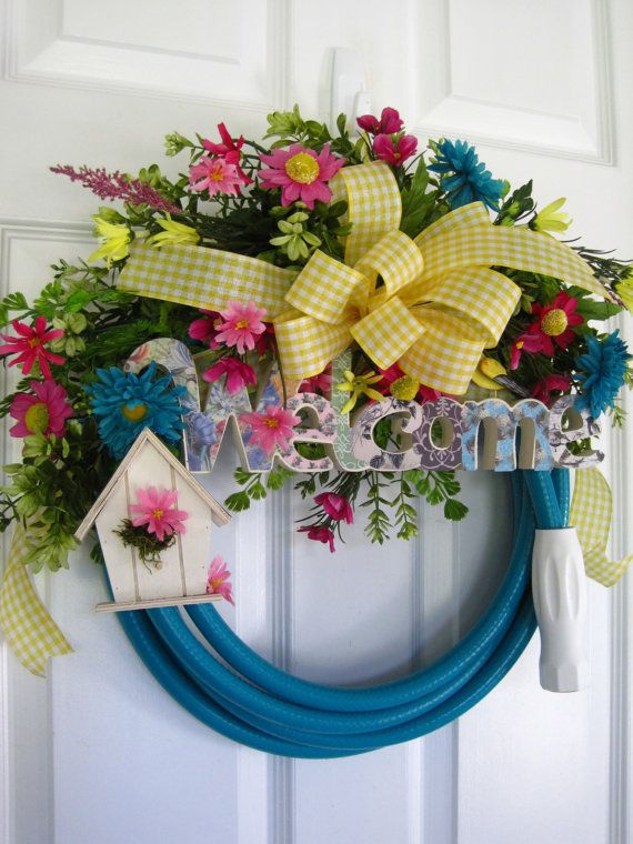GARDEN HOSE WREATH- Pink- Yellow- Turquoise Spring Flowers- Birdhouse- Welcome Sign