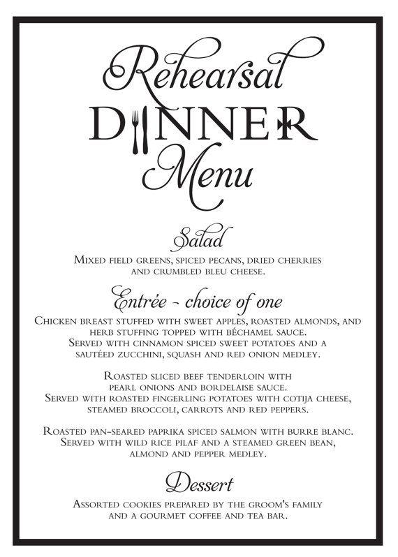 Elegant Wedding Rehearsal Dinner Menu {Digital File ...