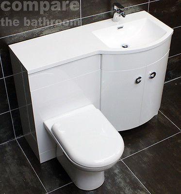 Millie P Shaped Vanity Set Bathroom Sink Basin Unit + WC Toilet White Gloss