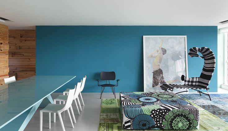 yes please: Rlhous, Studios Guilherm, Blue Wall, Color, House Studio, Interiors Design, Guilherm Towers, Design Studios, Rl House