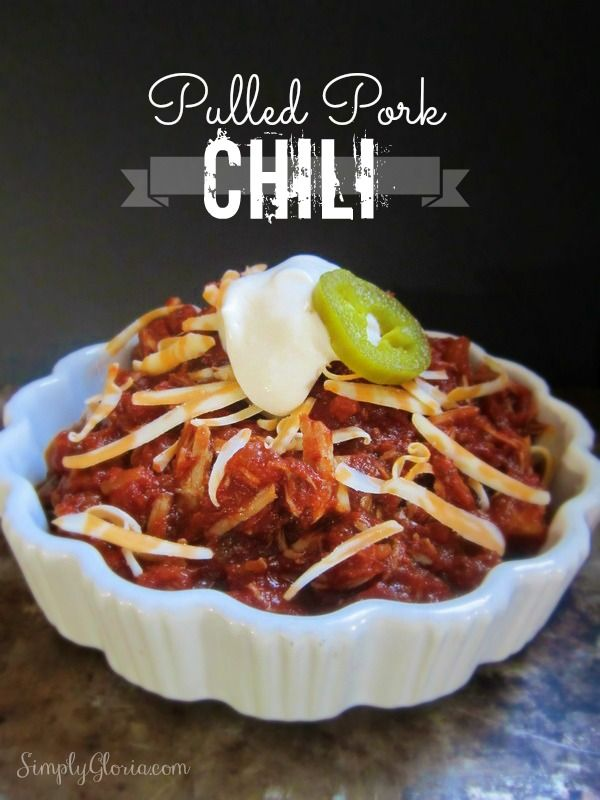 Pulled Pork Chili - Joan of Arc makes comfort food easy #chili #joanofarc #recipe #food Joanofarc.com