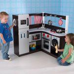 KidKraft Grand Espresso Corner Kitchen COSTCO Flat kitchen might actually have more storage.  Taller.  Corner kitchen 190, flat 160.