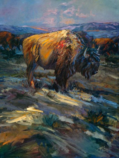 "High Plains Bison by Terry Lee Buffalo Wildlife Canvas Giclee L/E Print 40x30 - Terry has created a truly unique style that sets his work apart. Viewers and collectors of Terry's work enjoy oil paintings that present contemporary realism with an impressionistic edge and have been termed, ""A breath of fresh air in a world of sameness"". Terry did ..click an image to read more and see more artwork. Tags: Buffalo,Bison,wildlife,animals,outdoors"