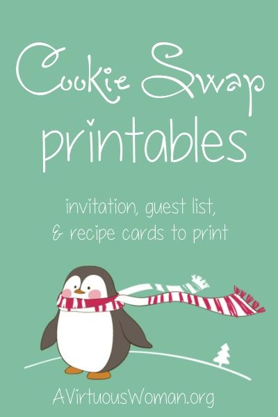 Free Cookie Swap Printables - Everything you need to organize a cookie swap with your friends! Print out this super sweet set of penguin Coo...