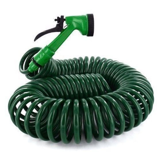 Retractable Garden Hose Coil Water 50Ft Pipe Reel Gun Spray Nozzle Watering