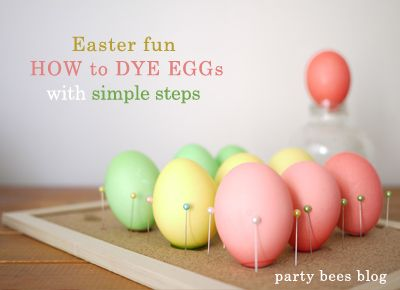 Easter FUN! How to dye eggs with simple ingredients from your pantry! お酢と食用色素をつかって、簡単にイースターエッグカラリング from Party bees ♪