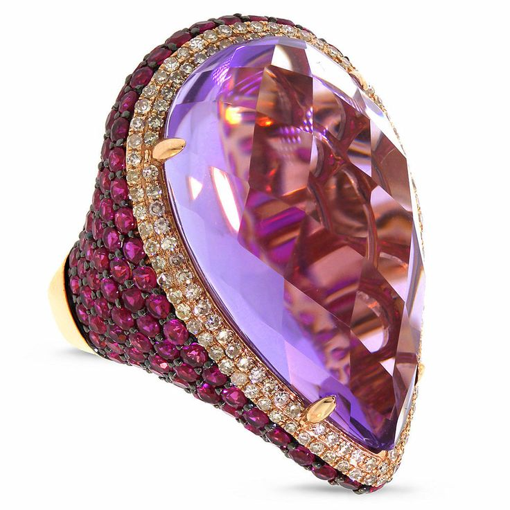 31.89CT 14K Rose Gold Cabochon Pear Purple Amethyst,  Pink Sapphire and Diamond Ring . ☆$2,499.00☆