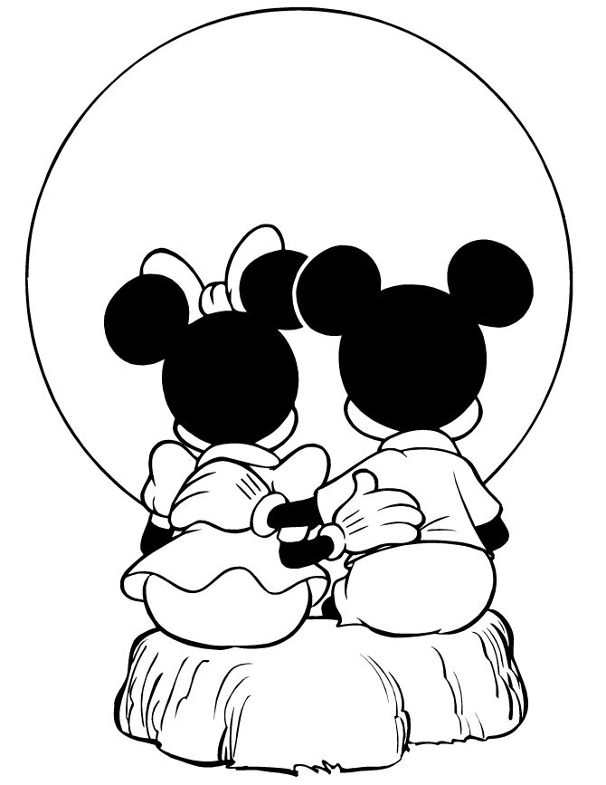 Mickey And Minnie Mouse Watching Sunset Coloring Page | H & M ...