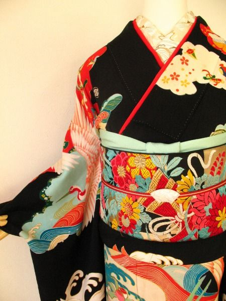 "vintage kimono ""Crane"" from the early Showa Period