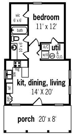 Hickory Pass - 500 House Plan  BHG-7104.  569 sq. ft.   20x39.