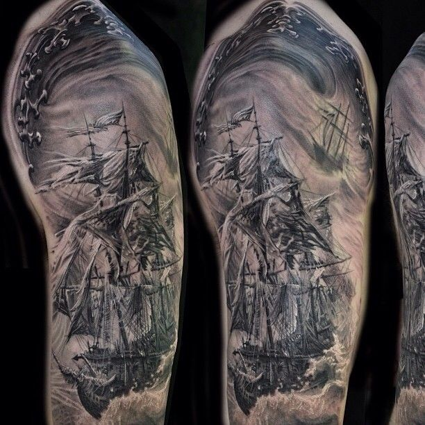"""@TattooSnob's photo: """"Pirate boat half sleeve by @joseperezjrtattoos at Dark Water Tattoos in Illinois. See more pictures on Jose's IG"""