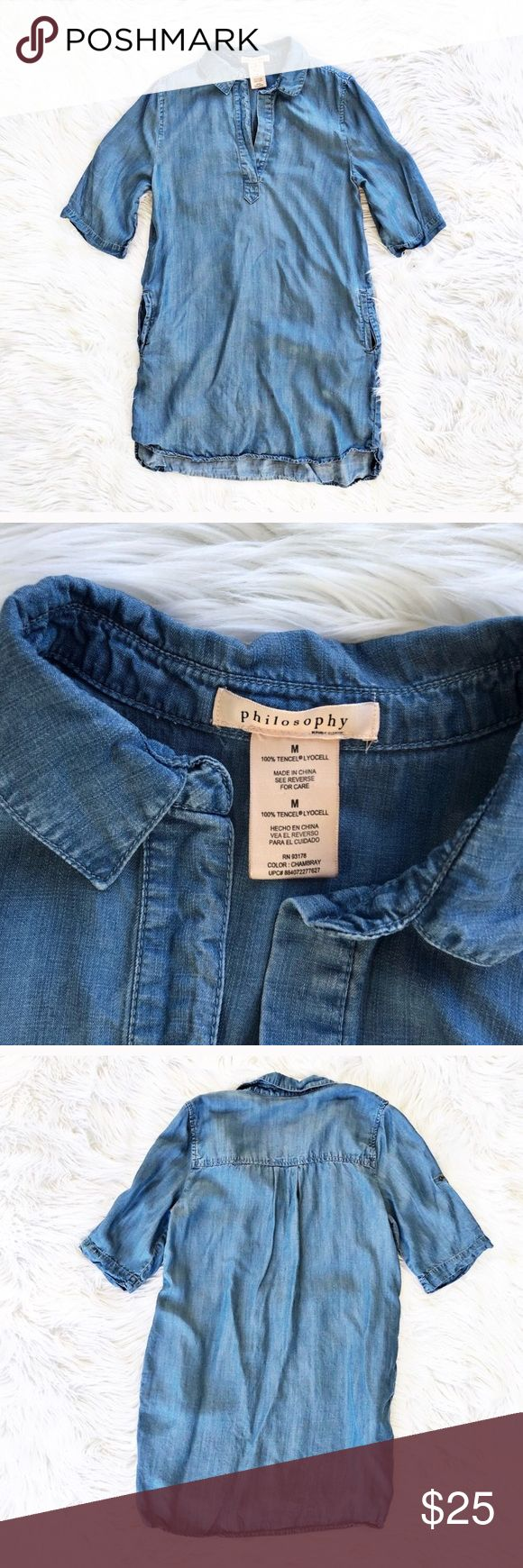 """Philosophy chambray shirt dress Classic chambray shift dress, size medium from Philosophy. Sleeves can be rolled back and buttoned to a shorter length. Excellent condition. Flat measurements are bust 20"""", waist 21"""", hips 22"""", length 34"""". Philosophy Dresses Mini"""