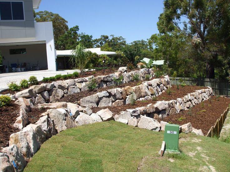 Landscaping Boulders Brisbane : Rock retaining wall alexander landscapes sunshine