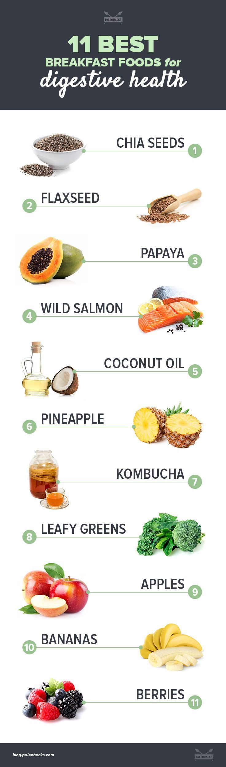 breakfast foods for digestive health infographic