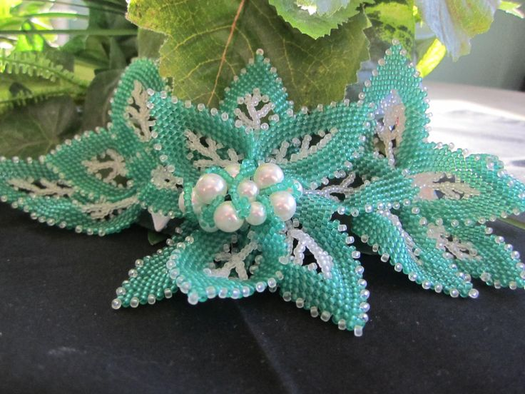 green leaf and pearl hair clip by ShelzBeadedJewelz on Etsy