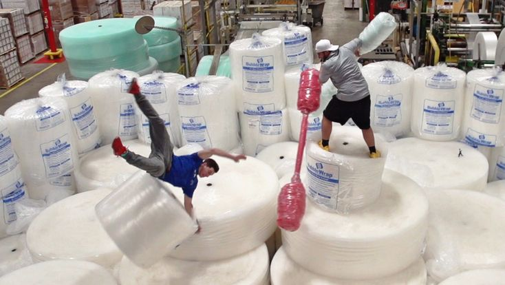 Bubble Wrap Battle | Dude Perfect....Come up with a plan for your own invention made of bubble wrap.