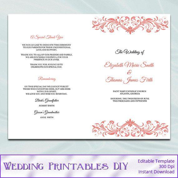 Catholic Wedding Program Template Diy By Weddingprintablesdiy