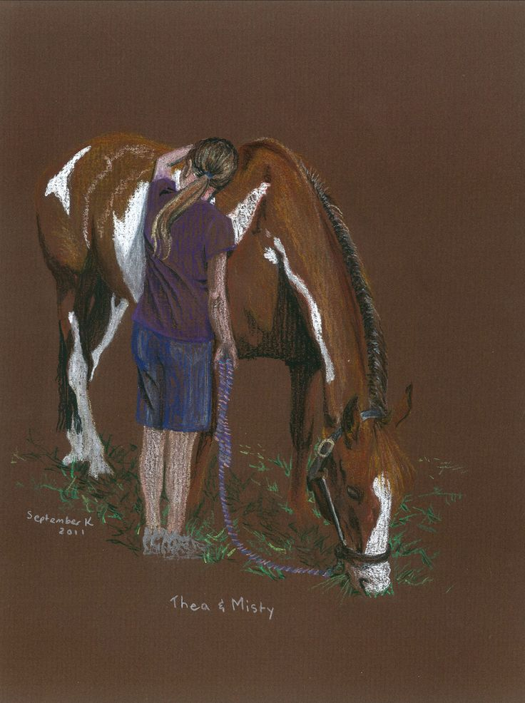 Commissioned pastel drawing of a girl and her horse