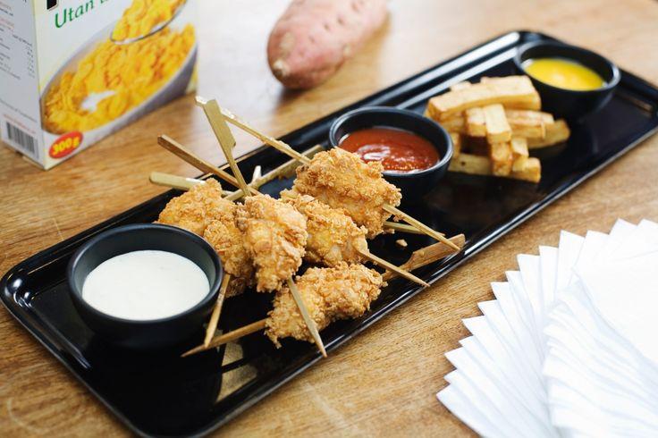 Cornflakespanerad kyckling med ugnsrostad sötpotatis | Recept från Köket.se