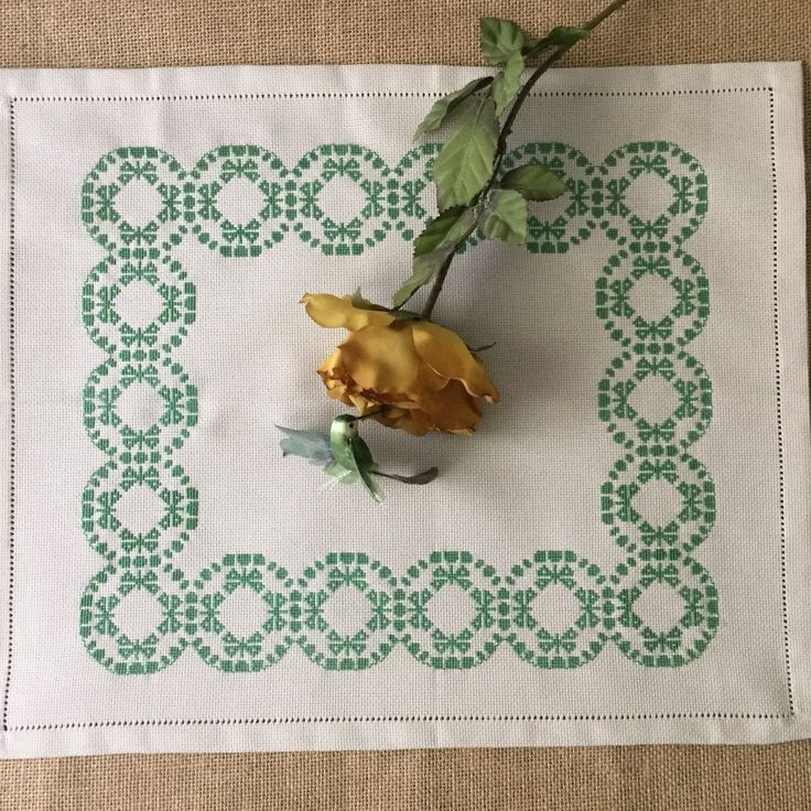 A placemat is a very special gift for Christmas. Embroidery handmade.