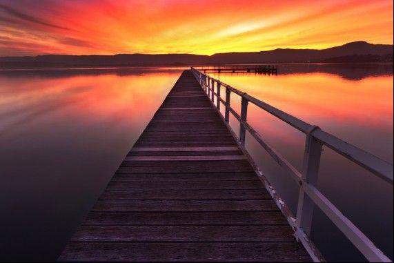 Primbee Jetty on Lake Illawarra at sunset.  #Wollongong #primbee #jetty #lake #Illawarra #NewSouthWales