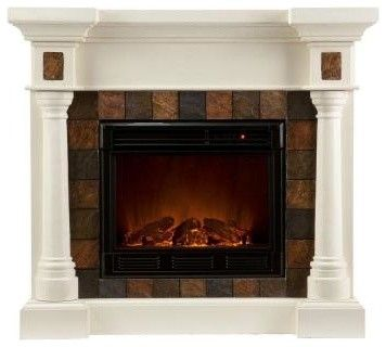 Home Depot Electric Fireplaces Clearance | ... in. Convertible Electric Fireplace in Ivory w contemporary fireplaces