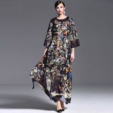 Европейский стиль boho платье half-рукава черный роскошный дворец шаблон Maix длинные платья для женщин платье осень зима 2015 151025(China (Mainland))
