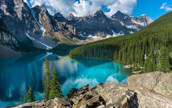 Télécharger fonds d'écran Le Parc National de Banff, le Lac Moraine, forêt, lac bleu, l'été, les montagnes, Canada