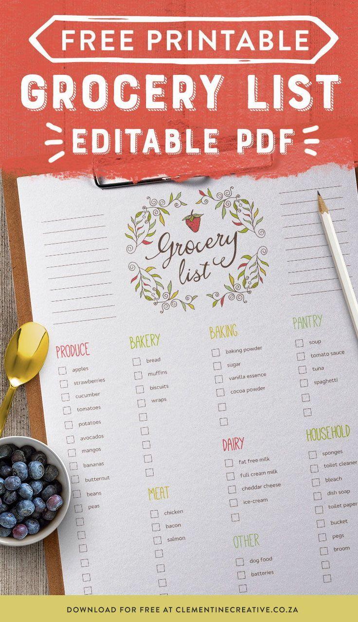 Free Editable Menu Plan and Grocery List! Meal planner