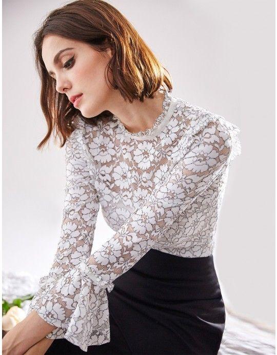 baceb6a4e63e1f Alisa Pan Long Sleeve Lace Top | My Style | Lace tops, Blouse, Lace