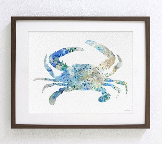 Crabe bleu aquarelle Art peinture Archiv de 5 x 7 par ElfShoppe