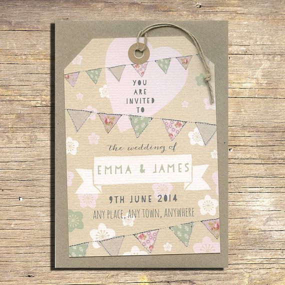 25 Pastel Flowers and Bunting Wedding by papertreemedia on Etsy, €62.50