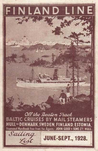 1928 Finland Line Sailing List