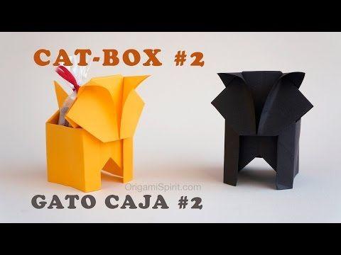Un gato en origami que también es una caja. (Versión 2 de 2)