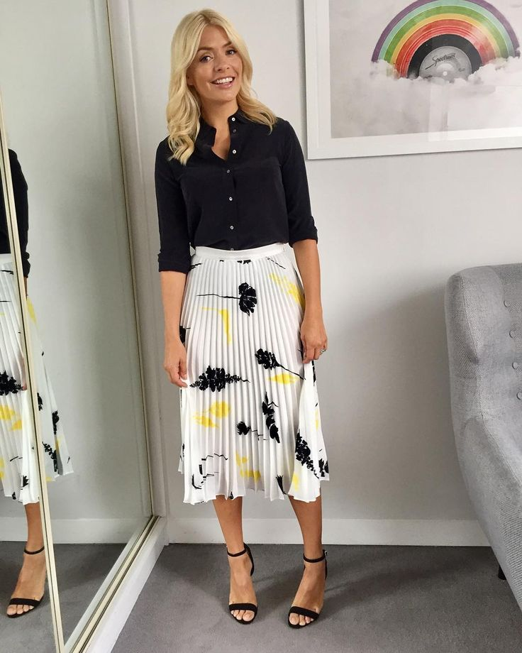 """62.1k Likes, 291 Comments - Holly Willoughby (@hollywilloughby) on Instagram: """"Morning Tuesday... today's look on @thismorning ... skirt by @houseoffraser and shirt by…"""""""